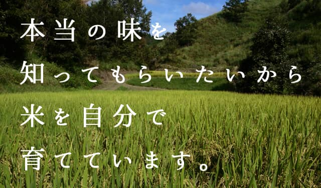 本当の味を知ってもらいたいから米を自分で育てています。